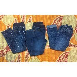 Cat & Jack Crazy 8 Girls Jeans Size 5T Lot Of 3